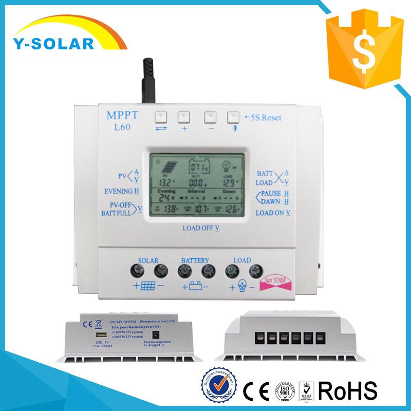 60A 12V/24V MPPT+PWM Charging Solar Panel Controllers L60