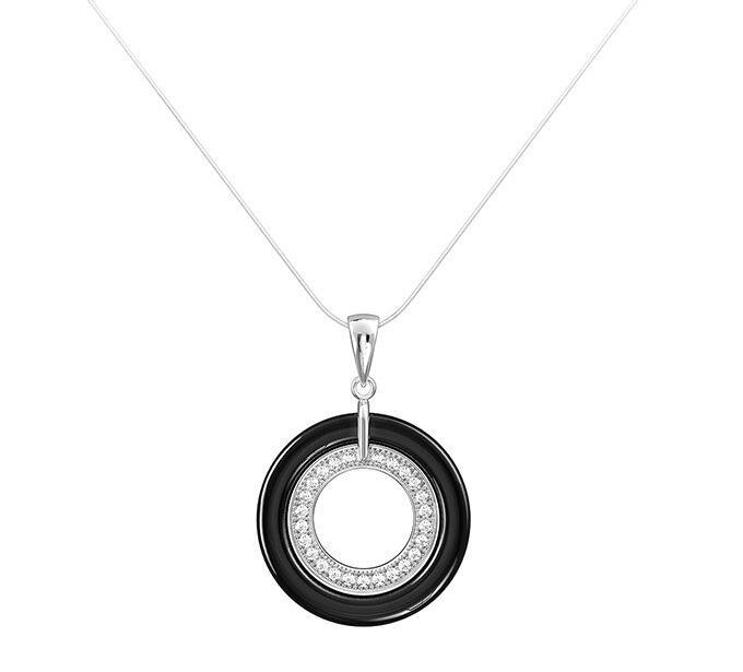 Ceramic and 925 Sterling Silver Pendant Necklace P20013