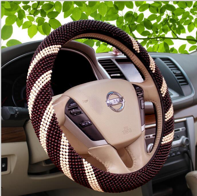 Cool Luxurious Wood Bead Car Steering Wheel Cover Sleeve