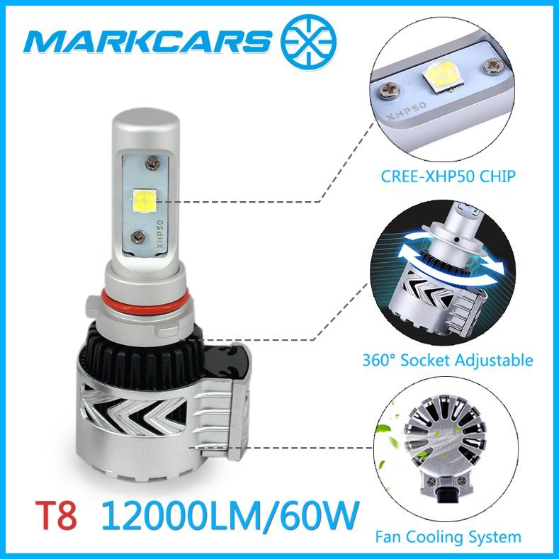 Auto LED Head Lighting H4 H7 H11 9005 9006 9007 Bulb with Fan Heat Dissipation