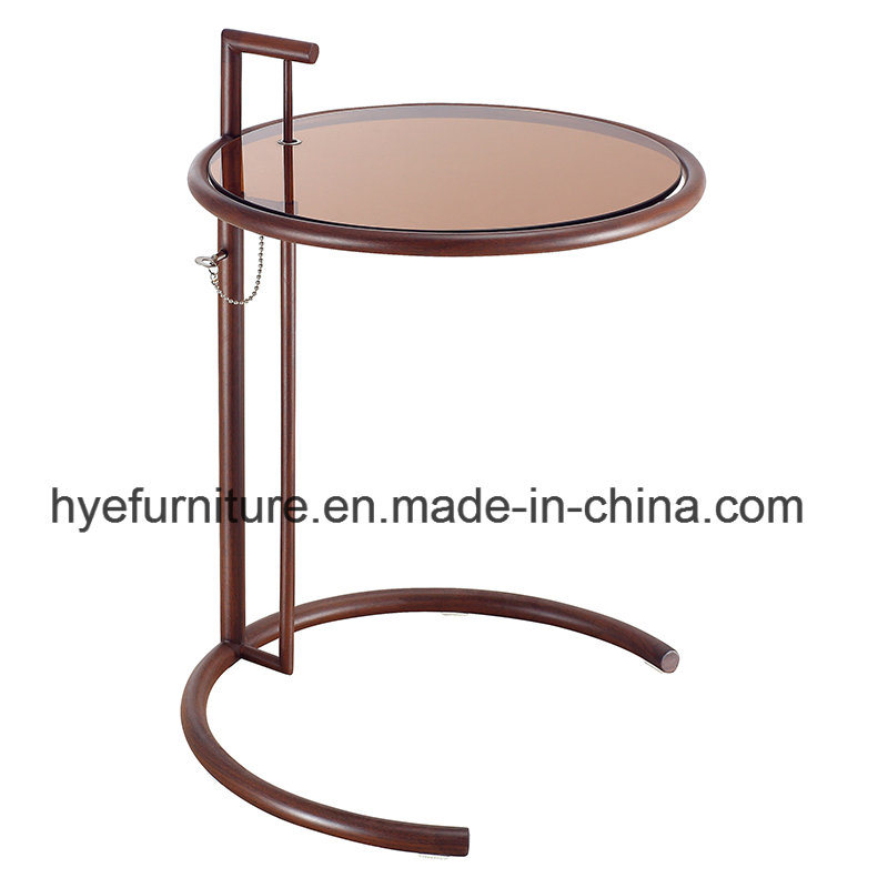 Modern Stainless Steel Tempered Glass Lift Side Table (D19)