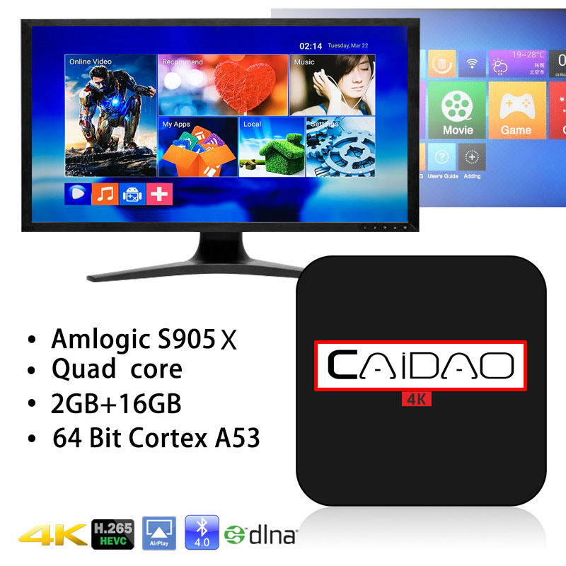 New Arrival Caidao Tvbox Android 6.0 Amlogic S905X Tvbox S905X Quad Core Smart Andoid TV Box