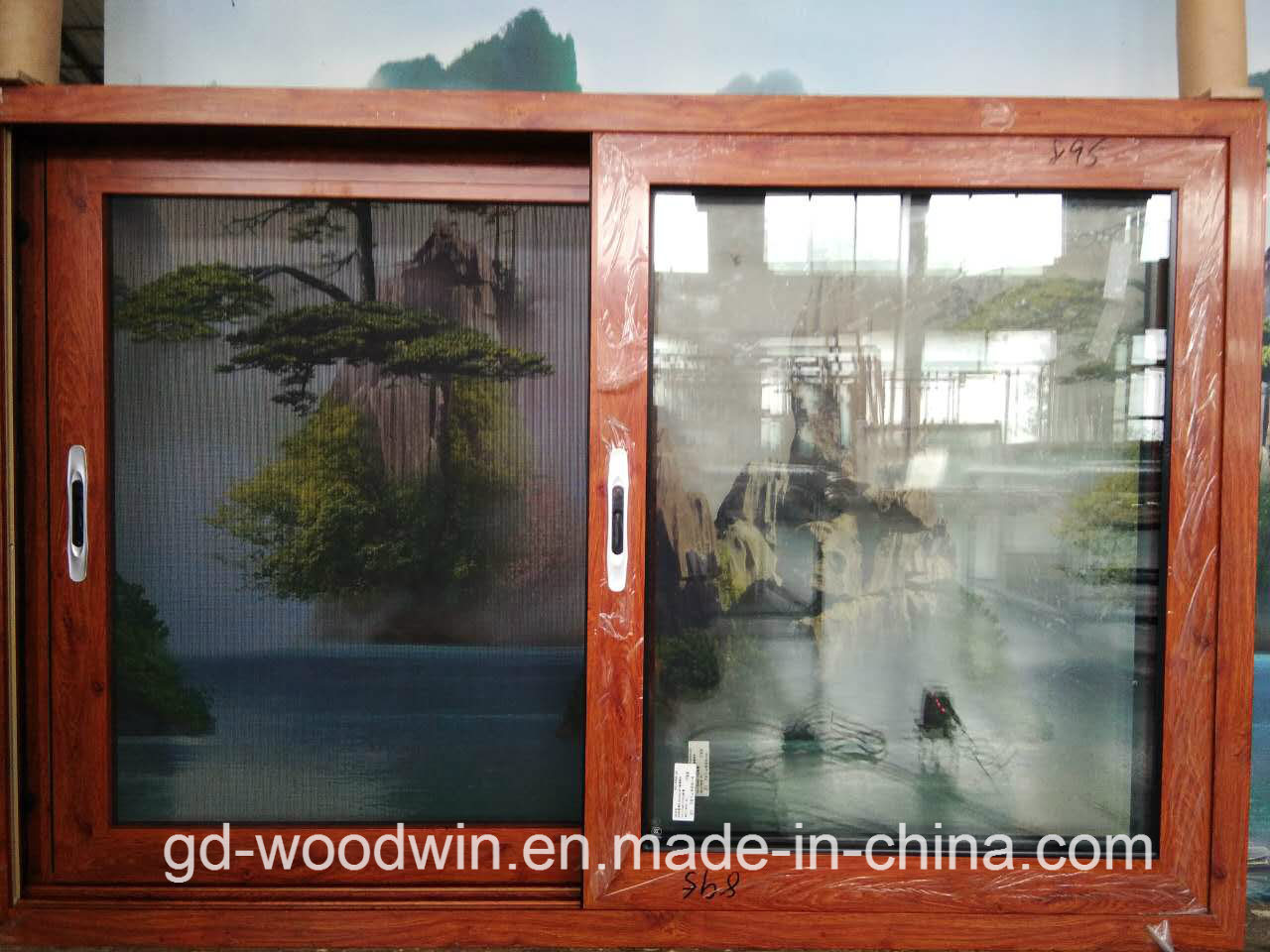 Woodwin High Quality Wood Grain Aluminum Sliding Window with Ss screen