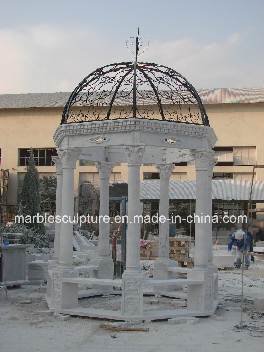 Antique Stone Marble Garden Gazebo for Outdoor Garden Decoration (SY-G001)