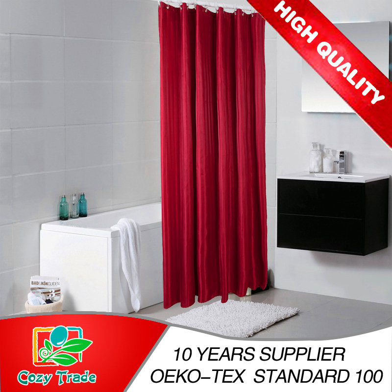 Hot Sale Supper Market Supply 100%Polyester Shower Curtain, Plain Shower Curtain, Stripe Shower Curtain, Bathroom Curtain, Waterproof Curtain