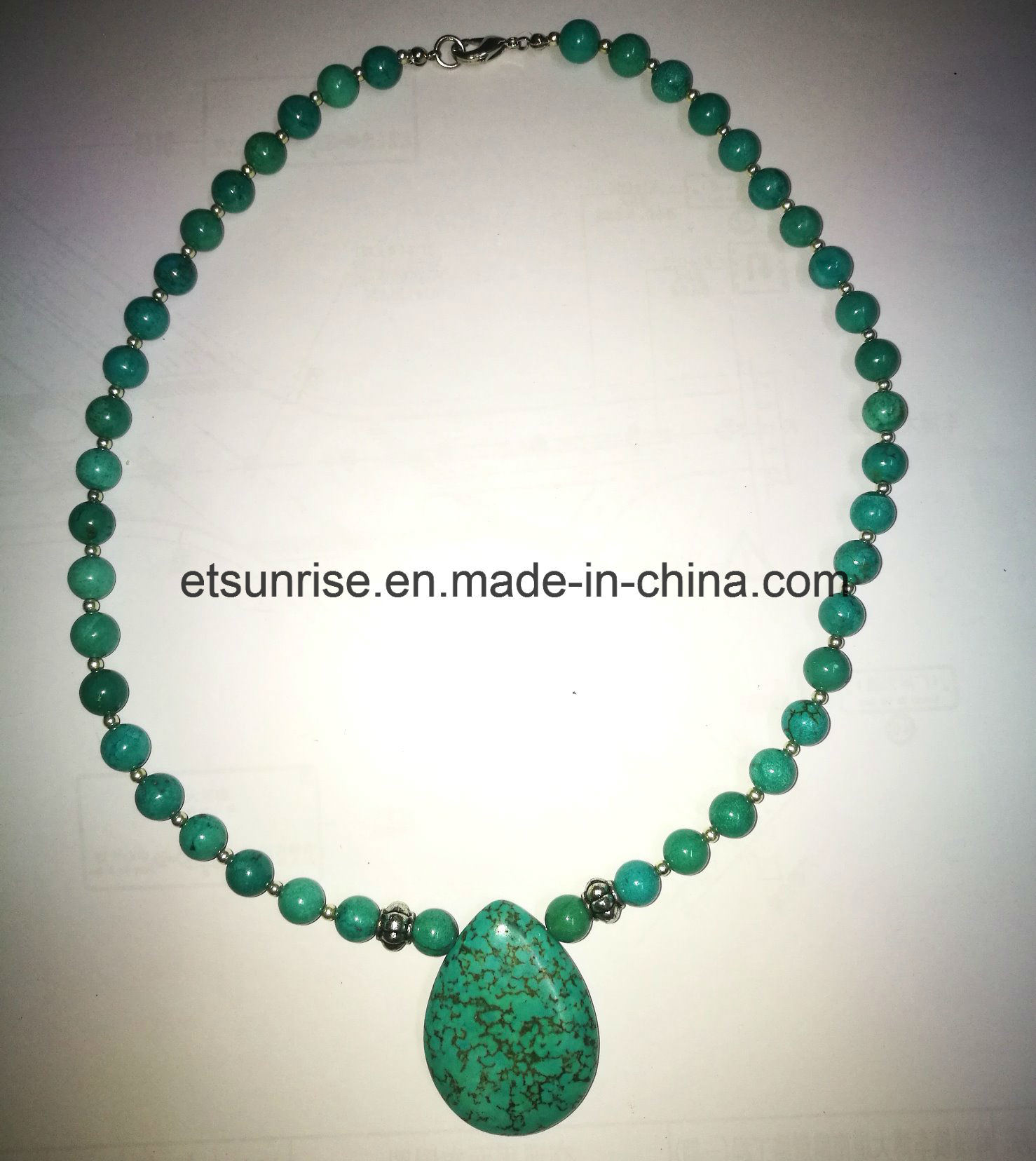 Semi Precious Stone Blue Green Turquoise Beaded Necklace Jewellery
