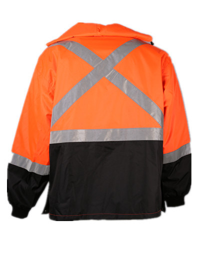 Hi-Vis Orange Waterproof Windproof Mens 3 in 1 Winter Jacket Parka with 2′′ Reflective Tape