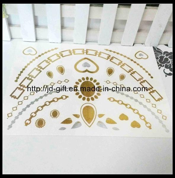 Hot Sale Flash Jewelry Temporary Tattoos Metallic Gold Silver Tattoo Sticker in High Quality