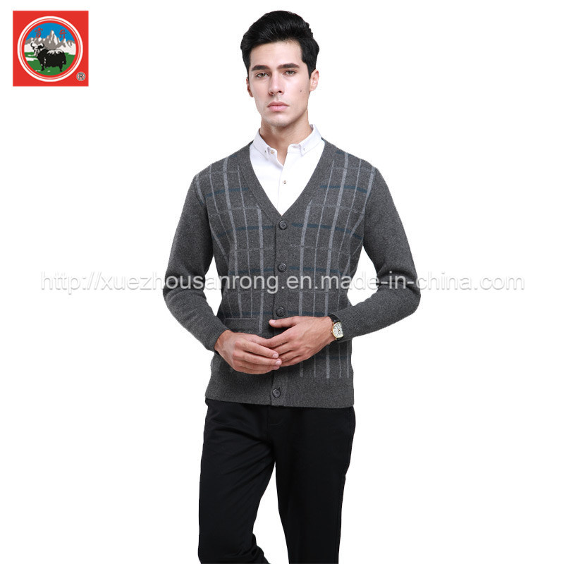 Yak Wool Cardigan V Neck Knitwear/Cashmere Clothing/Yak Wool Garment