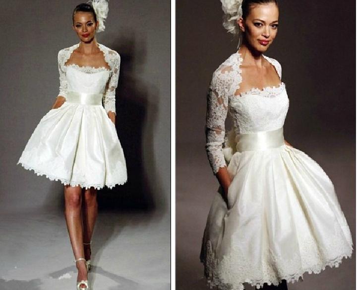 China Short Bridal Wedding Evening Dress Lace Knee Length Bolero Jacket Wedding Gowns A61