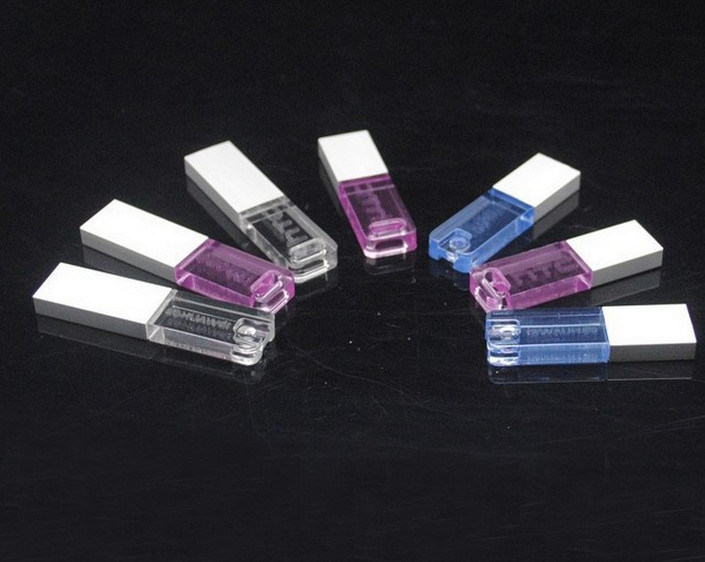 Acrylic Transparent Flash Memory 128MB-64GB Acrylic USB Drive with LED