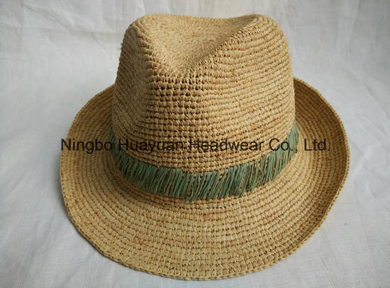 100% Fine Crocheted Raffia Hand Stiches Fedora Straw Hat