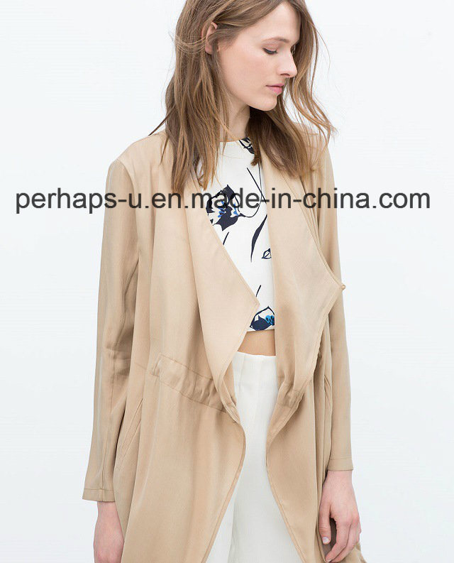 Ladies′s Fashion and Leisure Trench Coat with Full-Sleeves