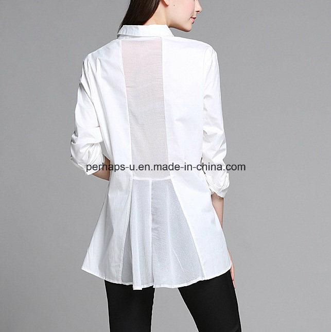Fashion White Falbala Ladies Shirt Fashion Blouse