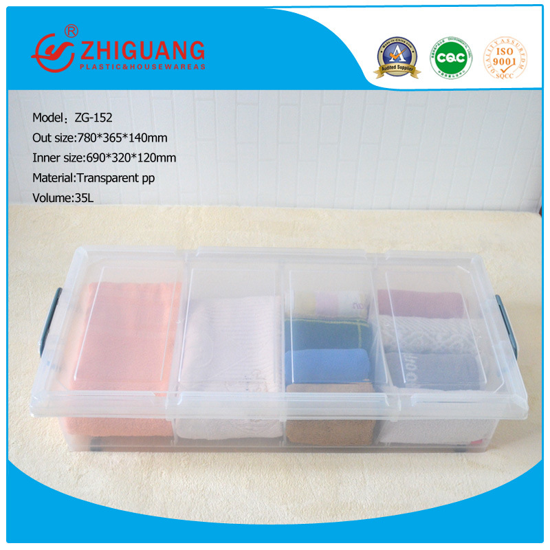 High Quality Plastic Products 35L Transparent Underbed Storage Box Plastic Box Packaging Box with Wheels