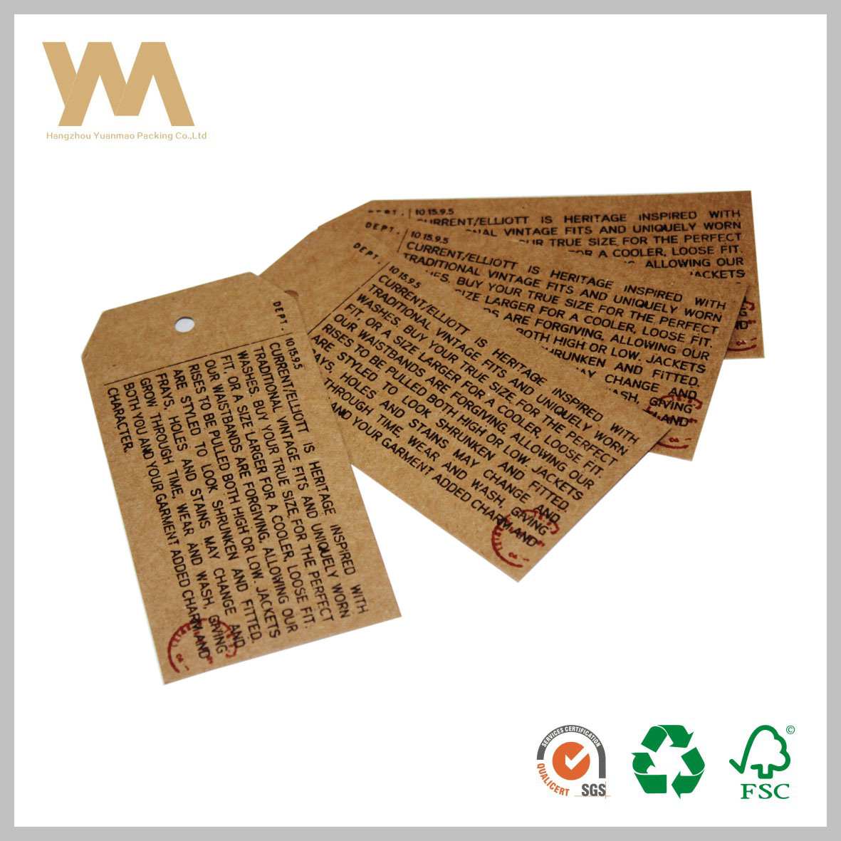 Brown Kraft Paper Hang Tag Label for Garment