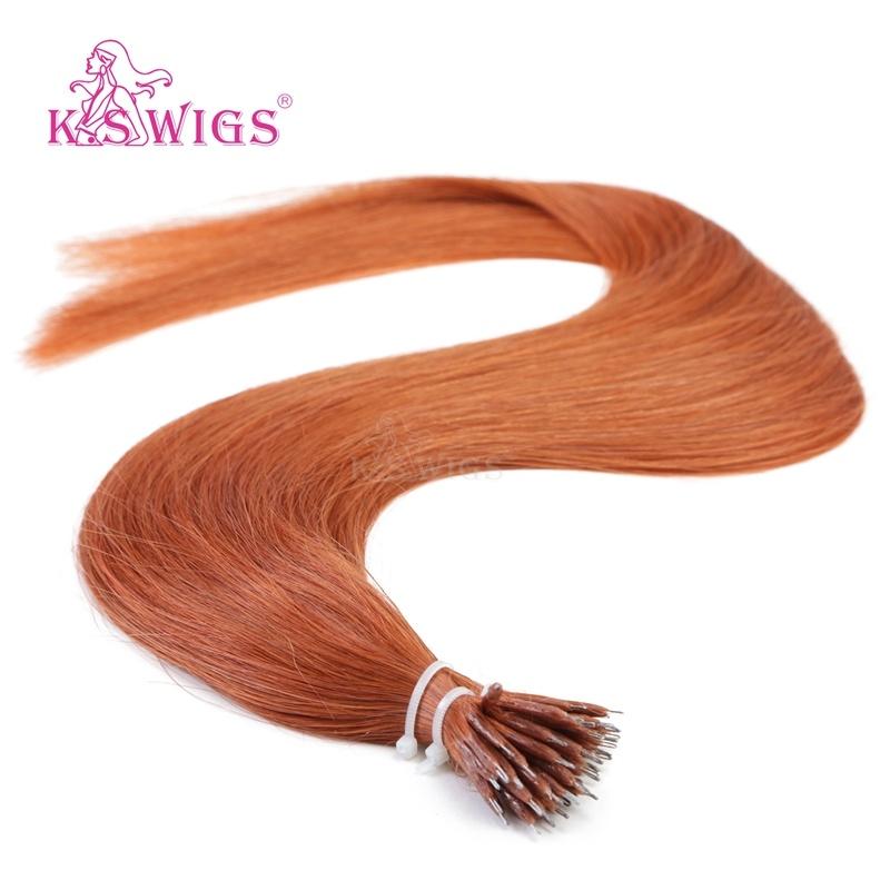 K. S Wigs Superior Quality Nano Ring Hair Keratin Hair Extension Brazilian Human Hair Extension 350#