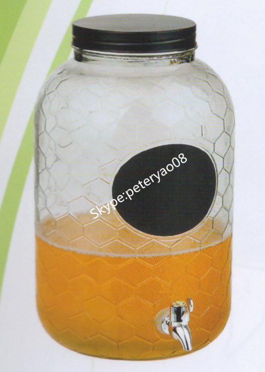 8L Glass Beverage Dispenser with Metal Lid and Black Chalk