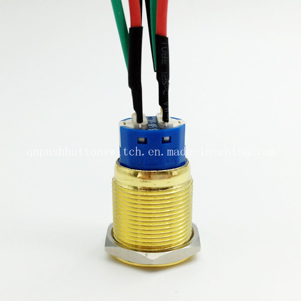 19mm Flat Head 2no 2nc Gold Finish Momentary Switch
