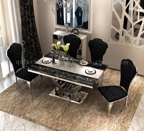 China New Design 6 Seaters Modern Marble Top Metal Base Dining Table Set