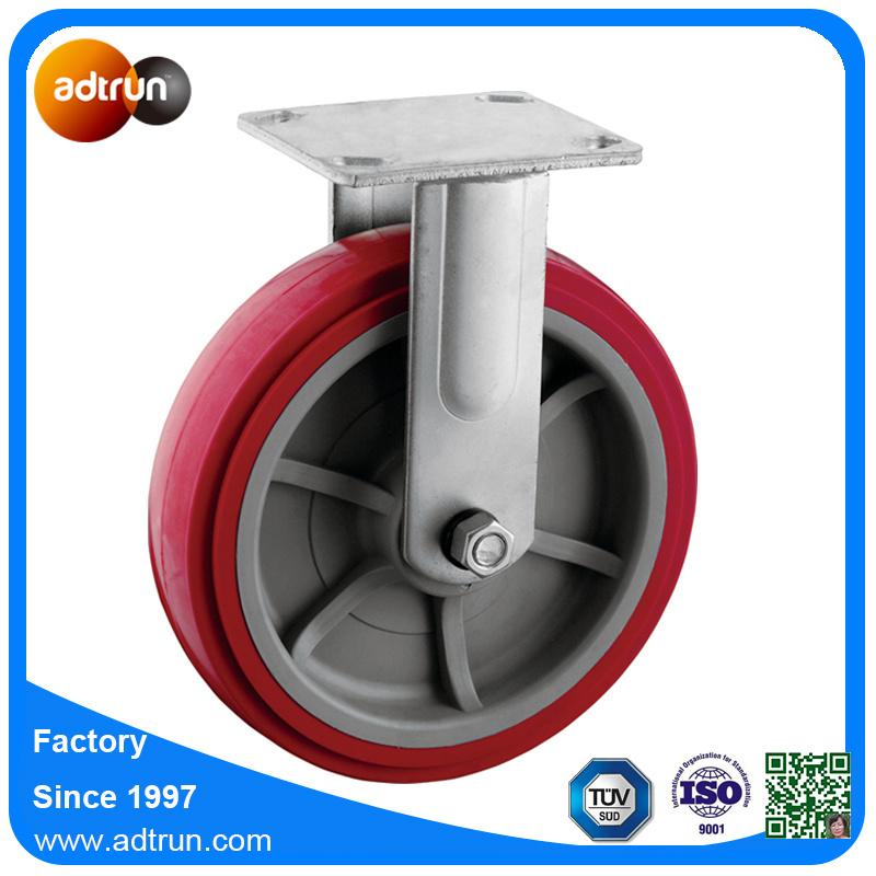 "Heavy Duty Rigid Plate 8"" Casters Red PU Wheels for Carts, Trolleys"
