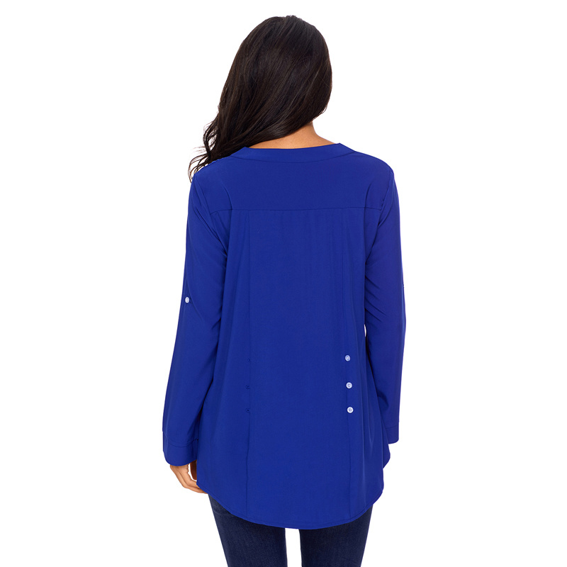 Ladies Fashion Blue Lace Roll Tab Sleeve Blouse