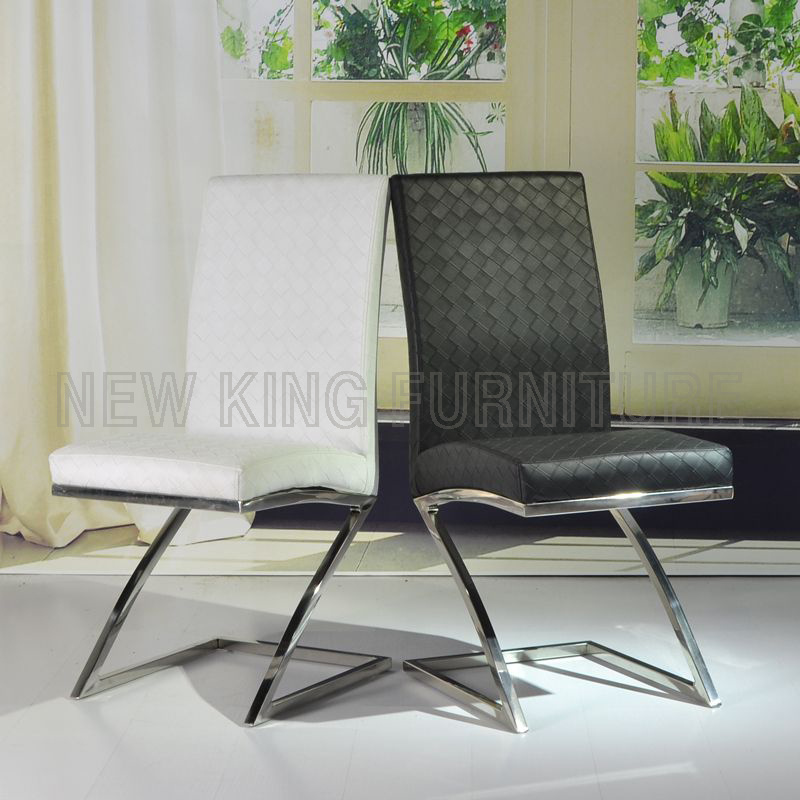 Cheap Fashion Chrome Steel Foot PU Leather Dining Chair (Nk-DC049)
