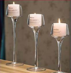 Flower Shape Glass Candle Holder with Long Stemmed with Candle, Styrofoam Box, Color Box Packaging 20.23.26cm