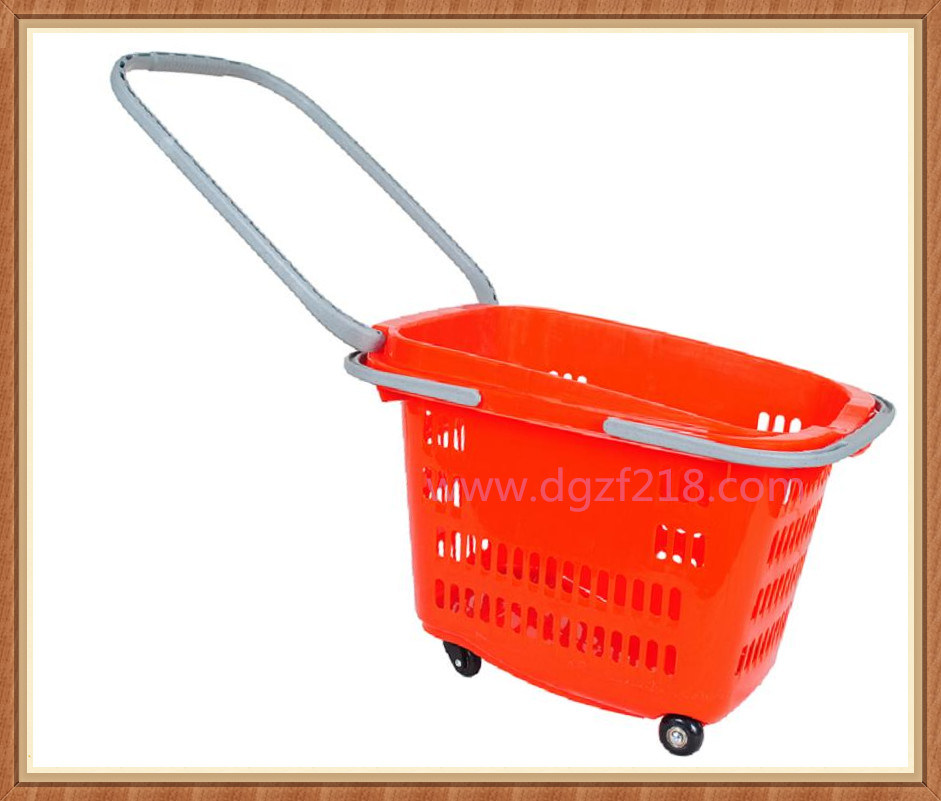 30L Multipurpose Superior Colored Plastic Shopping Basket for Supermarket