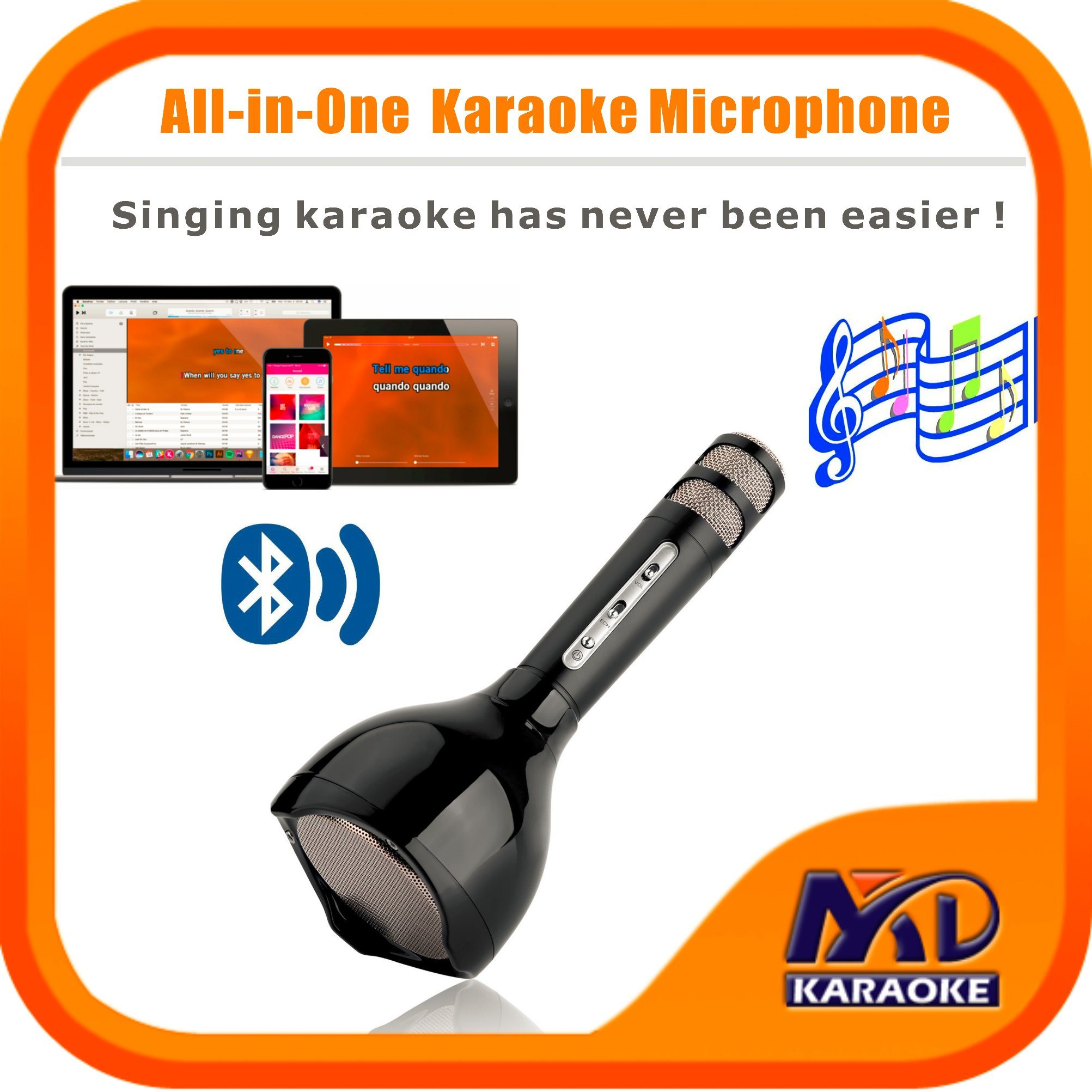 Portable Wireless Karaoke Microphone, Bluetooth Speaker Player for Music Playing Singing at Home KTV Party Travel Outdoor, Adapt to Apple iPhone Android.