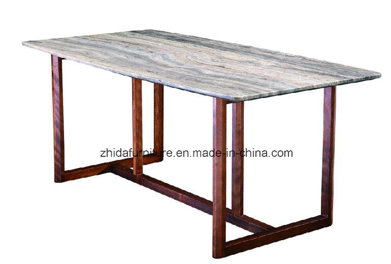 Italian Design Home Furniture Nature Marble Wood Dinner Table