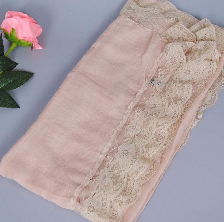 Women′s Fashionable Muslin Voile Viscose Soft Lace Solid Color Head Scarf