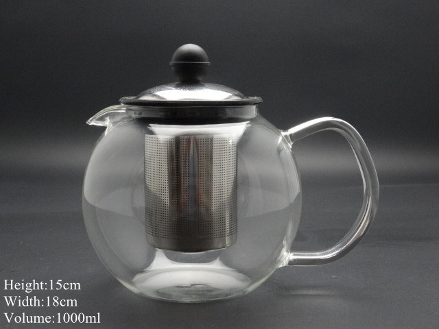 New High Quality 1000ml Stainless Steel Glass Modern Teapot Herbal + Removable Tea Leaf Infuser
