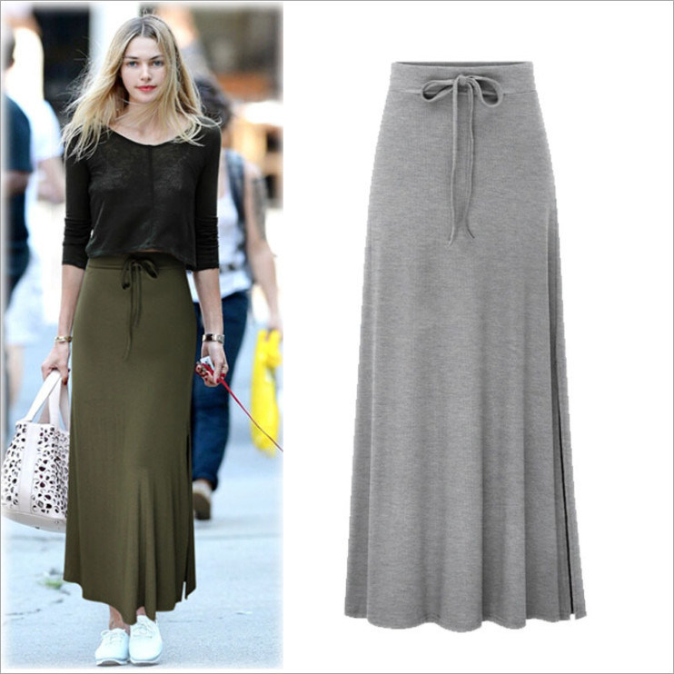 Split Elastic Waist Long Knitted Straight Skirt for Women Clothing