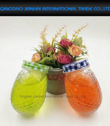Great Gift Pineapple Style Mason Jar Drinking Glass
