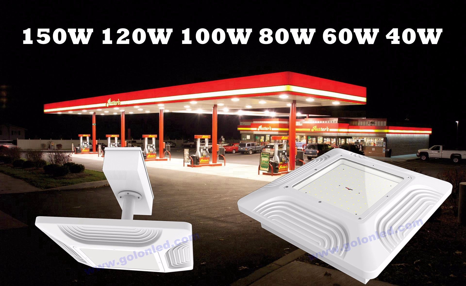 Recessed Ceiling Mounting Lighting 60W 80W 100W 120W 150W Canopy Lights Manufacturer Explosion Proof LED Gas Station Light