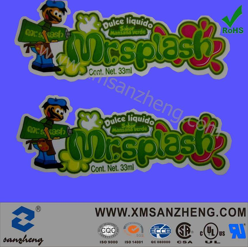 Color Translucent Glossy Water Resistant Self Adhesive Food Adhesive Safety Stickers