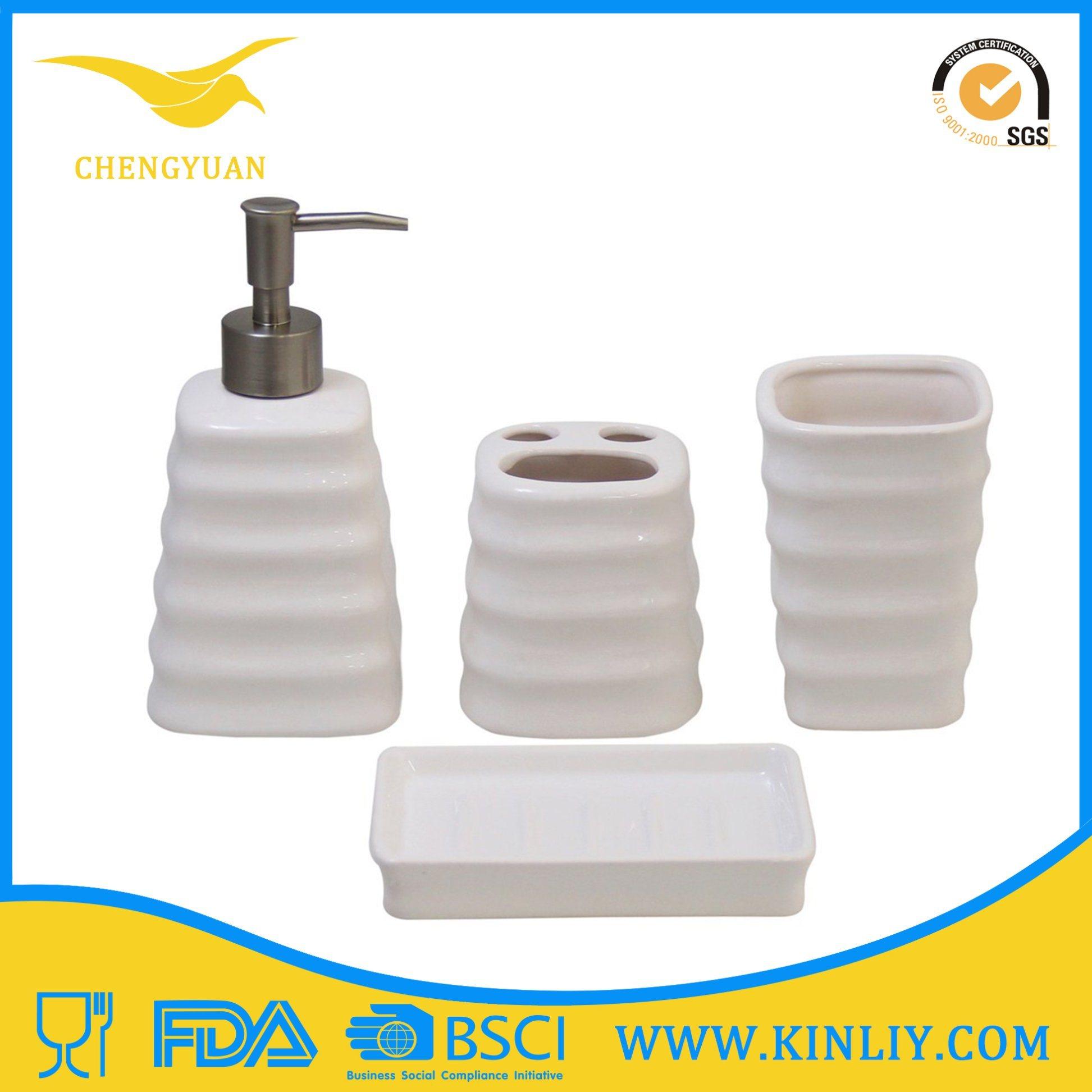 China Ceramic Bath Set White Lotion Dispenser Bathroom Accessory