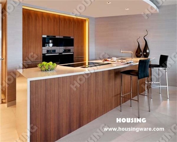 China fashion design timber veneer finish kitchen cabinet for Veneer for kitchen cabinets