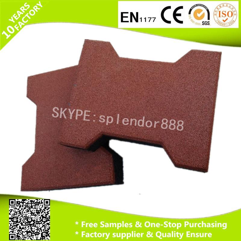 20mmx16mm Anti Slip Dog Bone Interlock Shape Rubber Paver for Horse Stable Playground Flooring Tiles