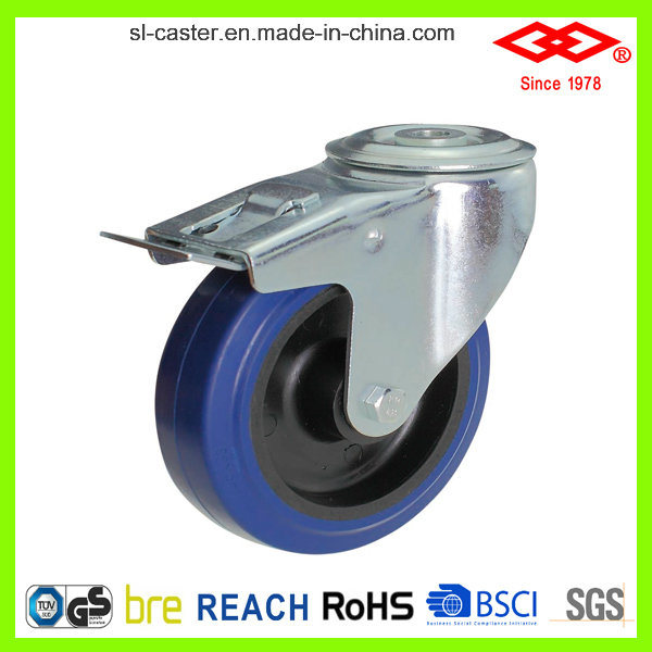 200mm Bolt Hole Locking Elastic Rubber Industrial Castor (G102-23D200X50S)
