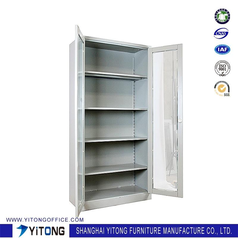 2-Door Glass Door Metal Storage Cabinet / Office Use Steel File Cabinet