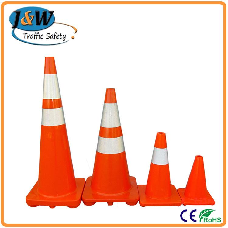 "28"" Fluorescent Orange PVC Traffic Cone with Black Base"
