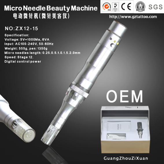 Electric Derma Micro Needle Beauty Pen Machine for Permanent Makeup (ZX12-15)