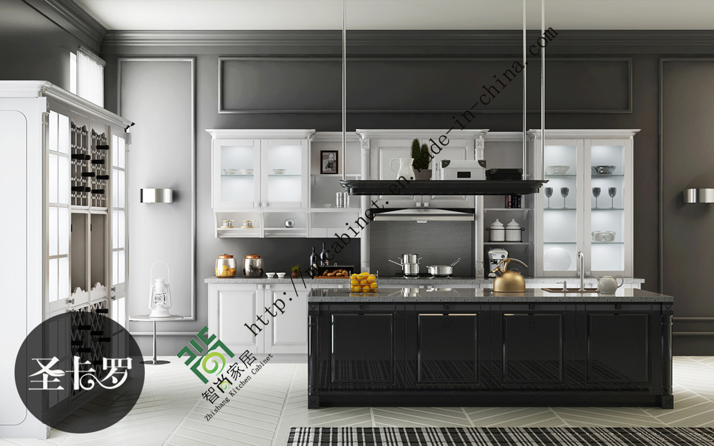 China Lacquer Series Modern Style Kitchen Cabinet Zs 176