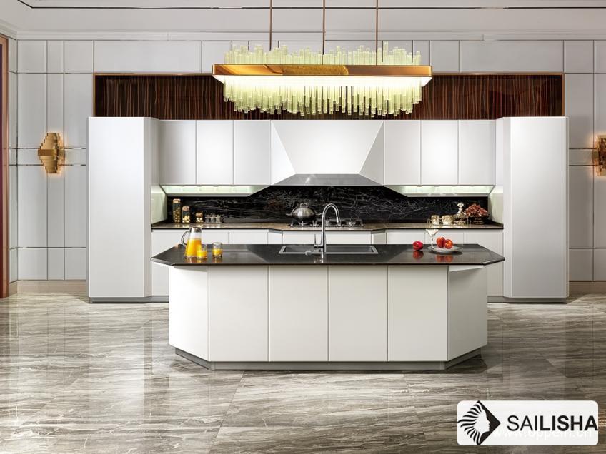 Modern France Home Hotel Furniture Island Wood Kitchen Cabinet