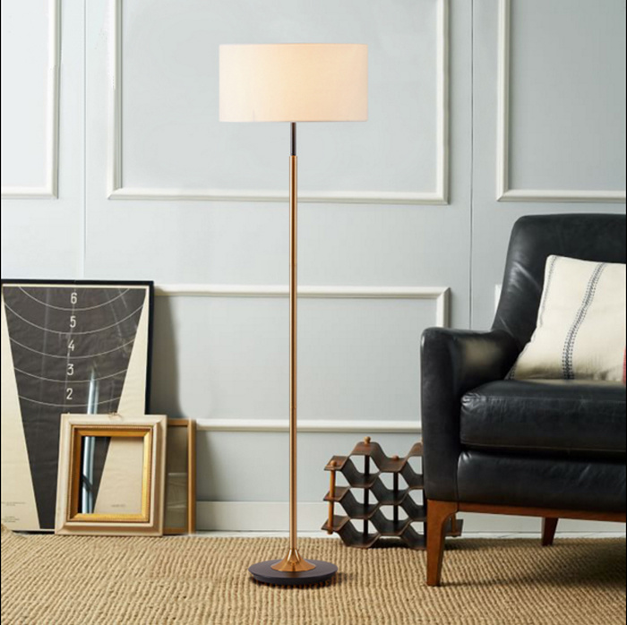 Post Modern Gold and Black Hotel Bedside Standing Floor Lamp with Fabric Shade for Reading