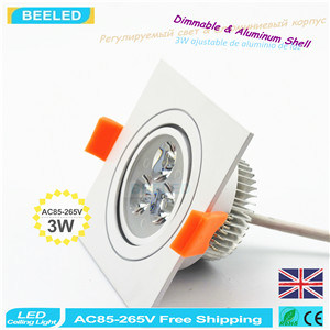 Square 3W Warm White LED Ceiling Lamp Dimmable LED Downlight