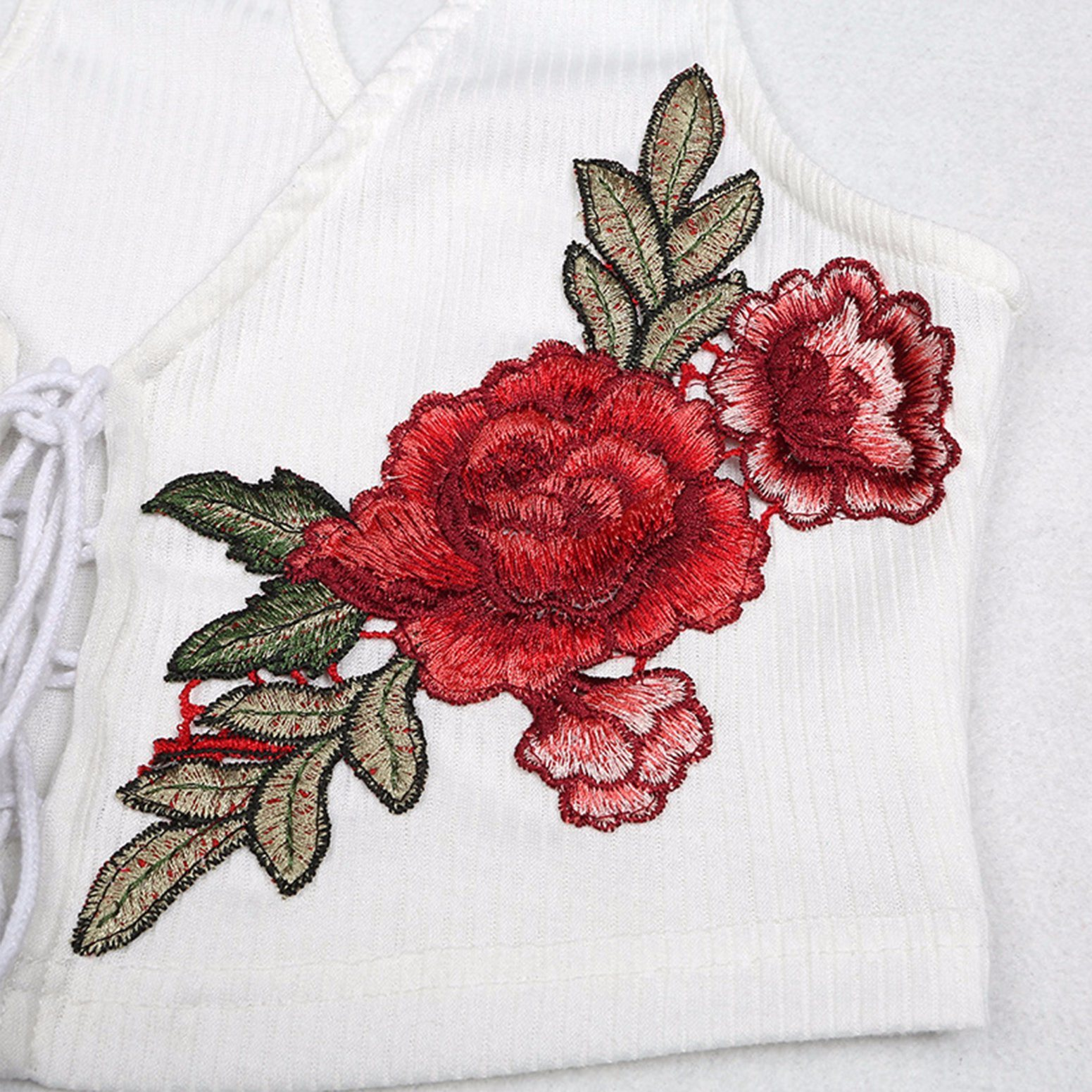 Ladies Fashion Bandage Embroidery Camisole Blouse