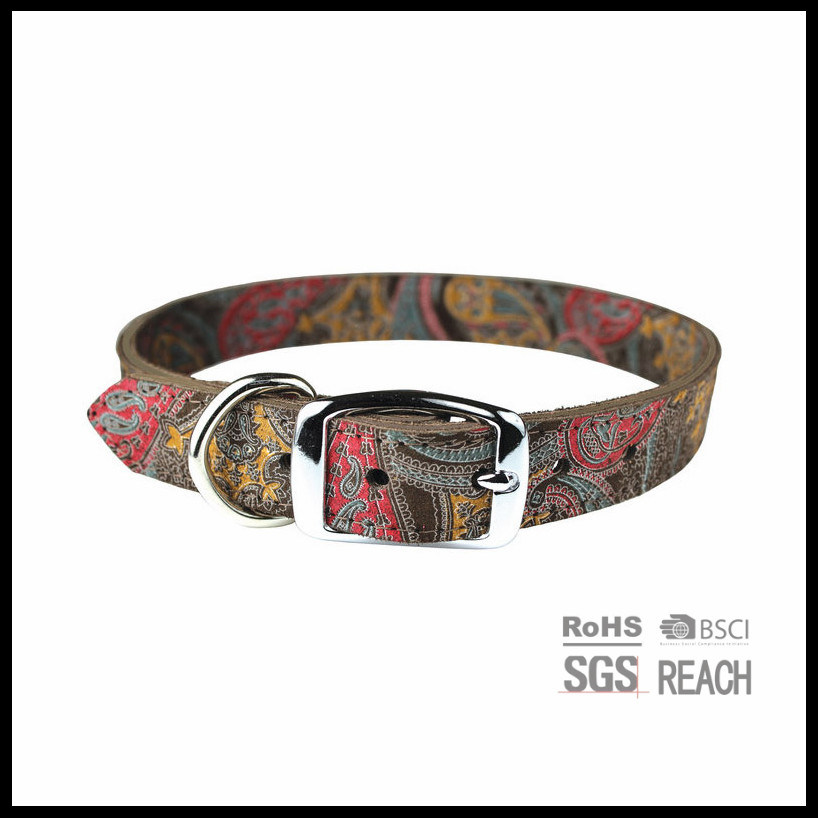 Custom Print Soft Real Leather Dog Collar Collar Genuine Leather Dog Collar Brass Buckle